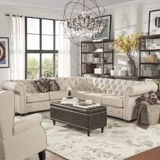 6 seat sectional sofa tribecca home knightsbridge tufted scroll arm chesterfield 6 seat l