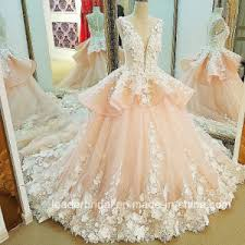 china arabic flowers bridal ball gowns pink lace wedding dress
