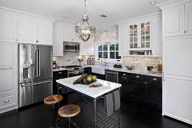 black lower kitchen cabinets white l shaped kitchen features white cabinets and black