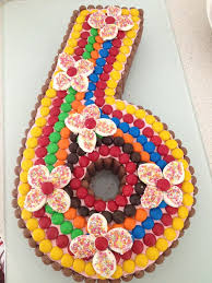 colourful number 6 birthday cake great shape example decorate