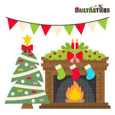 christmas fireplace clip art set clip art library