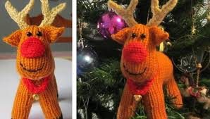 rex reindeer knitted ornament free knitting pattern