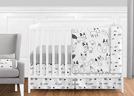 Crib Bedding Set With Bumper Grey Black And White Fox And Arrow Baby Boys Or 11