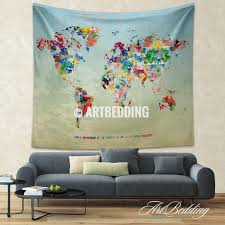 Watercolor Wallpaper For Walls by World Map Quote Wall Tapestry World Map Watercolor Inspirational