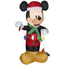 disney 6 ft led lighted mickey and minnie s sleigh airblown