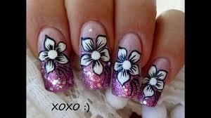 nail art tutorial five petal flower design with pink opi glitter