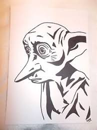 a4 black ink marker pen sketch drawing dobby the house elf from