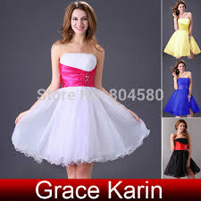 stock strapless short prom gown blue yellow white black