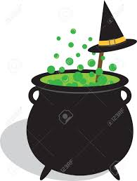 bubbling cauldron of witches brew and black hat for halloween