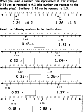 round numbers to tenths using a number line worksheet printout