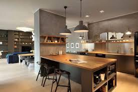ilot central cuisine bois idée relooking cuisine cuisine gris bois ilot central