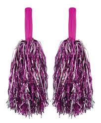 pink and silver pom poms 1 pack of 2 party bag toys