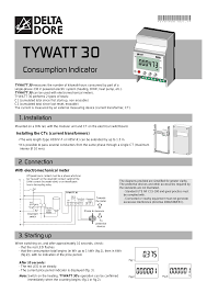 delta dore tywatt 30 user manual 2 pages