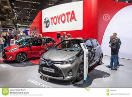 toyota germany toyota yaris hybrid at the iaa 2015 editorial stock image image