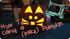 how to carve a fake pumpkin cat pumpkin youtube