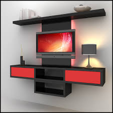 decor wall mounted tv unit designs and table lamp with interior