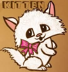 draw cute cartoon kitten pretty bow easy steps