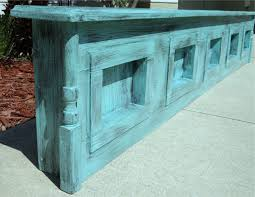 Wooden King Size Headboard by Rustic Turquoise Wood King Size Headboard With Shelves Decofurnish