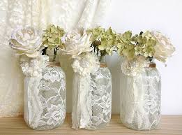 House Decoration Wedding 3 Ivory Lace Covered Jar Vases Bridal Shower Decoration