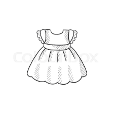 baby dress vector sketch icon isolated on background hand drawn