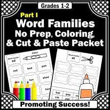word families worksheets part i 1st grade phonics practice cut