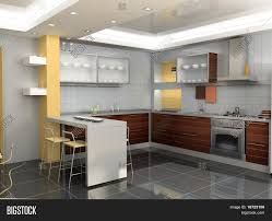 modern kitchen interior design 3d image u0026 photo bigstock