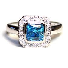 blue promise rings images Princess cut aquamarine blue promise ring beautiful promise rings png