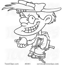 cartoon black and white line drawing of a bad boy holding