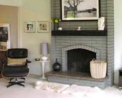 Black Paint For Fireplace Interior Painted Brick Fireplace In A Light Gray With Dark Wood Mantel In A