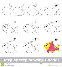 funny fish drawing tutorial stock vector image 65645589