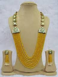 yellow necklace set images Babosa sakhi jaipuri high quality kundan yellow onyx beads long jpg&a