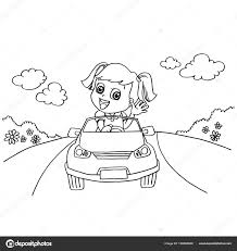 driving toy car coloring vector u2014 stock vector