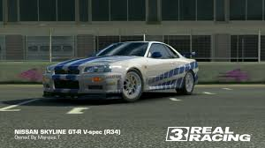 Real Racing 3 2 Fast 2 Furious Nissan Skyline Gt R R34 Youtube