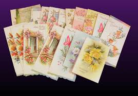 boxed set 21 vintage greeting cards floral roses butterfly used
