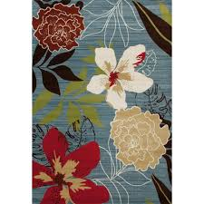 Area Rugs Tropical Carpet Antigua Tropical Floral Aqua 2 Ft 7 In X 3 Ft 11 In