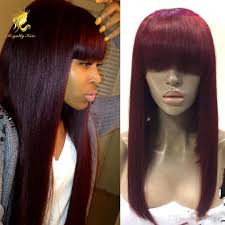 fashion color 99j dark red human hair lace front wigs with chinese