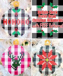 Free Cross Stitch Christmas Ornament Patterns Buffalo Check Perler Bead Christmas Ornaments The Scrap Shoppe