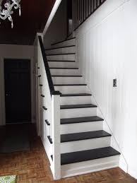 black staircase remodelaholic black and white painted staircase transformation