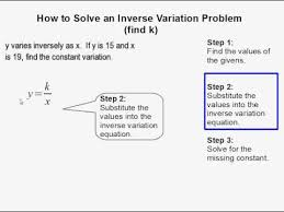 how to solve an inverse variation problem where the constant is