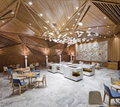 great restaurant design with amazing wood roof and snow view