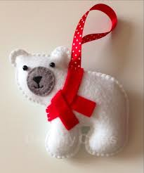 Polar Bear Family Christmas Decoration by Hand Stitched Felt Polar Bear Christmas Decoration All Things