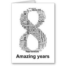 eighth anniversary gift personalised printed typographic eighth 8th anniversary card gift