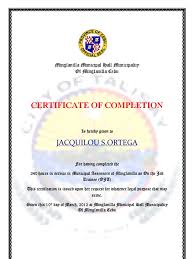 Resume Sample Format For Ojt by Certificate Of Completion Docojt