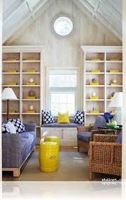 stylish white decorating with blue and yellow color accents