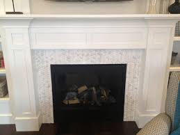 Wood Fireplace Surround Kits by Dark Brown Marble Surounding Fireplace And White Painted Cement