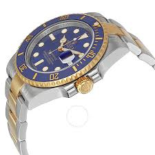 gold bracelet mens watches images Rolex submariner blue dial stainless steel and 18k yellow gold jpg
