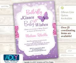 purple pink butterfly kisses and baby wishes invitation for baby