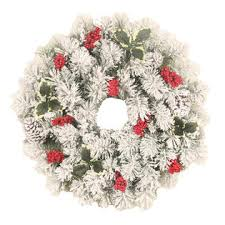 trim a home 22 flocked lighted wreath with berries and 35 clear