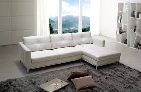 L Shaped Sofa With Chaise Lounge by Slim Sectional Sofa By Beverly Hills In White Full Leather