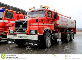 truck volvo used red volvo n12 tank truck editorial image image 52747900